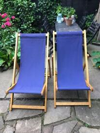 2 hardwood deckchairs. South Westerly original brand. Quality and sturdy. 1 y.o. hardly used.