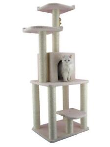 New Aeromark B6203 Armarkat Ivory Faux Fleece 62-inch Classic Cat Tree House, PICKUP ONLY - DI8