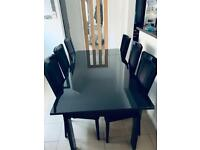 Black Glass Extending Dining table with 8 Chairs