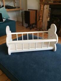 Toy crib, white wooden