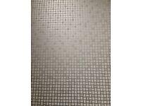 Mosaic vinyl flooring / silver grey white / bathroom / kitchen / Carpetright