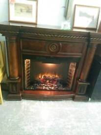 Very large oversized electric fireplace with lights and fire