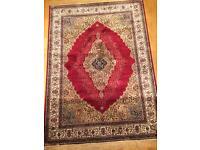 Persian silk rug birgandy wine deep red