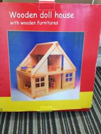 Wooden dolls house new