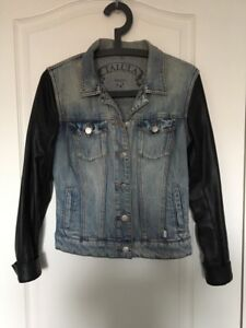Talula denim jacket with leather sleeves - size small