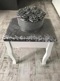 White/silver crushed velvet dressing table stool