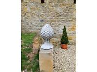 Pair of pineapple garden ornaments