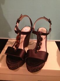 Gorgeous size 7 Unisa satin and jewel wedge shoes only worn once