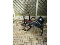 Gym bench, barbell, dumbell, pull down cable
