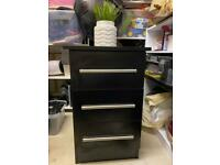 Two Custom made solid black wood bedside tables- excellent condition