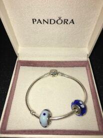 NEW genuine pandora bracelet with 2 charms