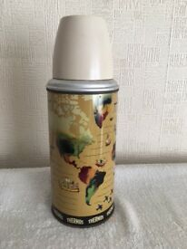VINTAGE MAP OF THE WORLD THERMOS FLASK