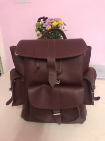 Burgundy garfea rucksack brand new leather