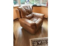 Soft Leather 3 Piece Suite and Footstool