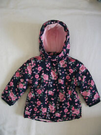 KIDS CHILDS COAT 12-18 Months BLUE ROSE PATTERN BABY WINTER JACKET