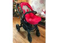 icandy pram, stroller and maxi cosi pebble car seat, wooden rocking crib and rocker