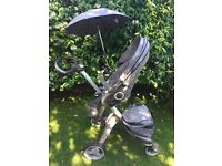 STOKKE XPlory with travel bag and many other accessories, bags, raincover, parasol, etc