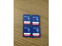 4GB SDHC class 4 Sandisk memory card for sale Ł2.99/each four for Ł10