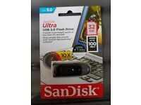 Brand new and SEALED - SANDISK 32 GB Ultra USB 3.0 Memory Stick (90 day Tidal worth £60)