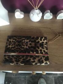 Leopard print clutch/shoulder bag