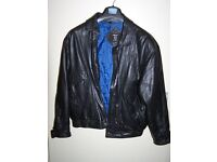 """Black leather """"Bomber"""" jacket"""