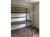 Ikea Svarta high sleeper bed with large desk