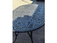 Extra large wrought iron garden table and wrought iron parasol base