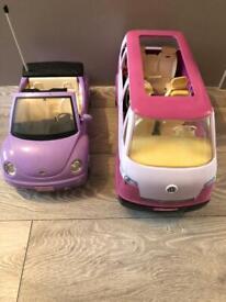 Barbie doll mini van and VW beetle car