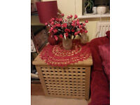 Wood coffee/side table/ chest / laundry basket Beech Oak Lovely Condition
