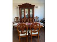 Solid wood six seater dining table & cabinet