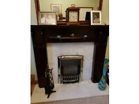 Mahogany fire surround..chrome gas fire..marble backplane and hearth