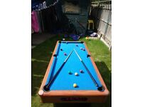 pool table + set of snooker balls and cues
