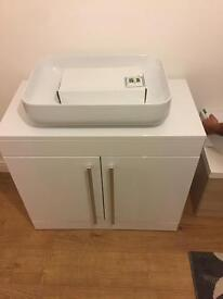 Sink and vanity unit large floor standing gloss white inbox for size
