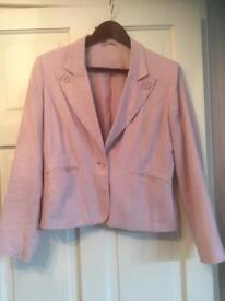 Ladies Pale Pink Linen Blend Jacket with Heart Buttons