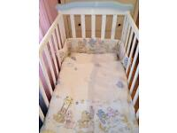 Cot bed with rocking function, under bed storage+all accessories