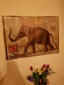 Elephant on map of India print mounted on reclaimed wood.
