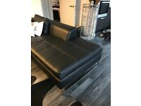 Black Faux Leather Corner Sofa with Chrome Legs 8 Months old Excellent Condition