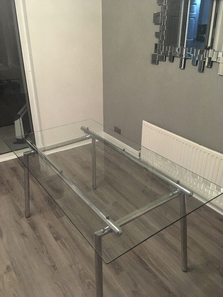 b01f2d04579c Glass Dining Table and Chrome Base | in Paisley, Renfrewshire ...