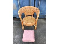 Wicker chair and stool FREE DELIVERY PLYMOUTH AREA