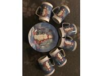 Christmas Snowmen 6 China mugs and plates