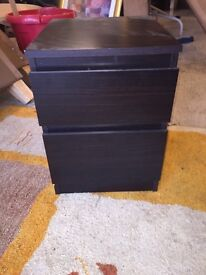Two bedside drawers cabinets dark rown