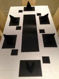 Set of 8 Black Stitch Faux Leather Placemats/Tablemats and Matching Runner