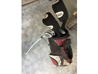 Golf clubs full set of irons 1&3 woods, carry bag and balls