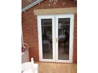 White UPVC Pair of french doors with frame