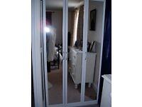White Cheval 3-door mirrored wardrobe - 3 hanging rails - H199.5m x W101.4cm x D50cm
