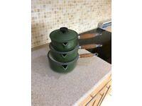 Set of Le Creuset pots Sizes 16, 18 & 20.