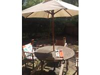Garden patio table, parasol and 4 chairs
