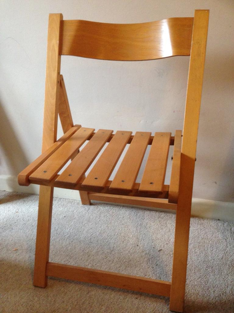 1970s Solid wood folding chair