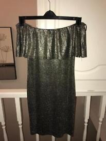 Gold Quiz Off The Shoulder Dress