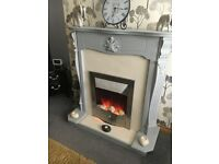 Fireplace and electric fire traditional grey